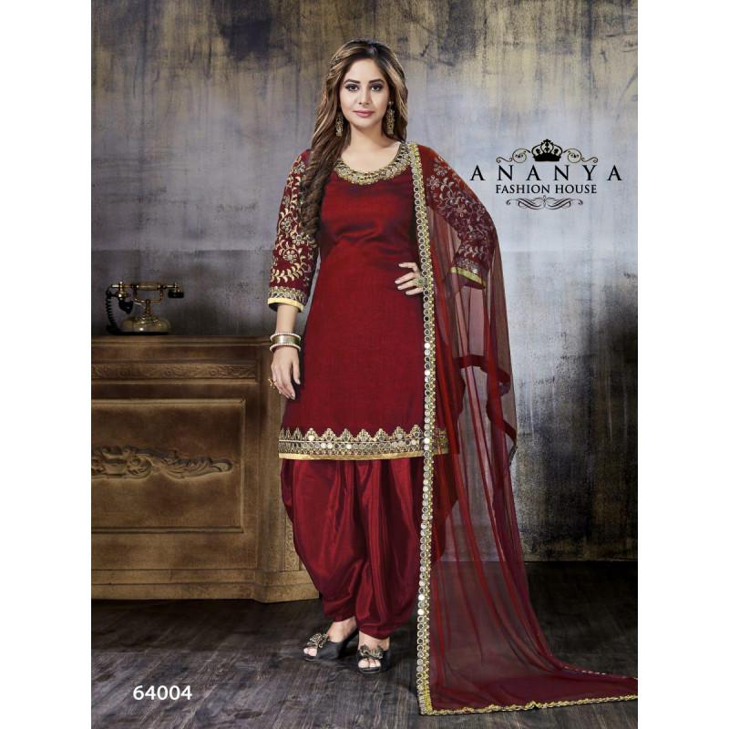 Trendy Maroon Art Silk Salwar kameez