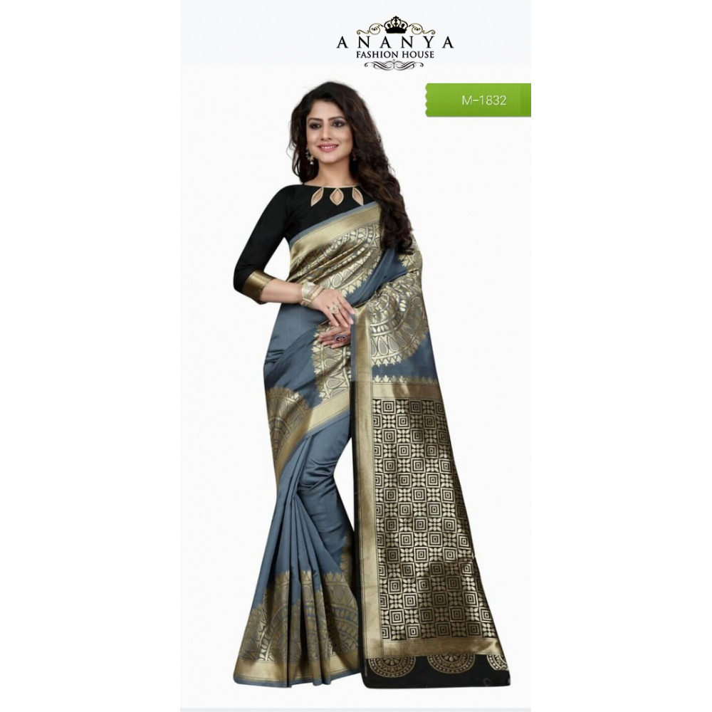 712a24f4acd52 Melodic Grey Banarasi Silk Saree with Black Blouse