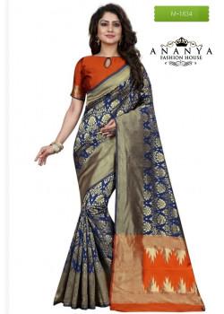 Dazzling Blue Banarasi Silk Saree with Orange Blouse