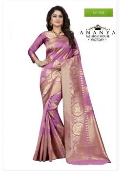 Magnificient Light Pink Banarasi Silk Saree with Light Pink Blouse