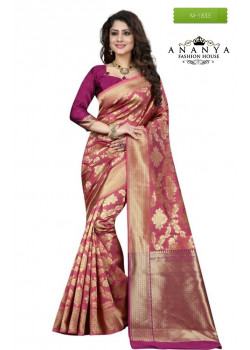 Charming Pink Banarasi Silk Saree with Pink Blouse