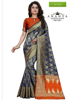 Dazzling Blue Banarasi Silk Saree with Orange Blouse