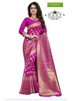 Divine Pink Banarasi Silk Saree with Pink Blouse