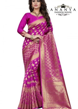 Divine Pink Banarasi Silk Saree with Pink Blouse