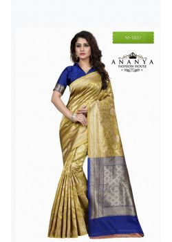 Exotic Gold Banarasi Silk Saree with Blue Blouse
