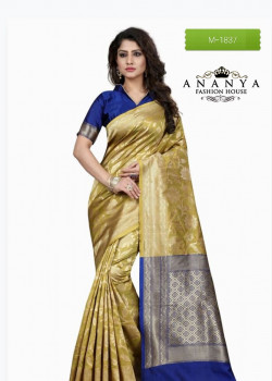 Exotic Gold Banarasi Silk Saree with Blue Blouse
