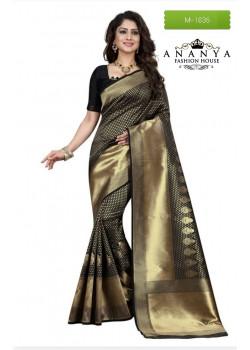 Gorgeous Black Banarasi Silk Saree with Black Blouse