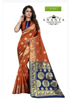 Incredible Orange Banarasi Silk Saree with Orange-Blue Blouse