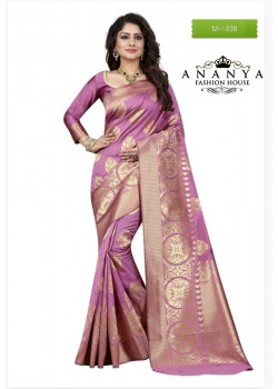 Magnificient Light Pink Banarasi Silk Saree with Light Pink Blouse