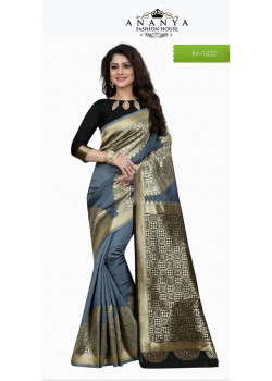 Melodic Grey Banarasi Silk Saree with Black Blouse