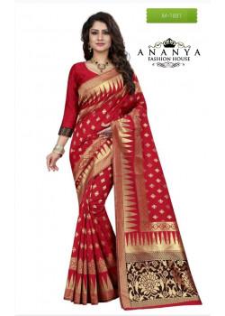 Trendy Red Banarasi Silk Saree with Red Blouse