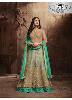 Gorgeous Green Banarasi Silk Salwar kameez