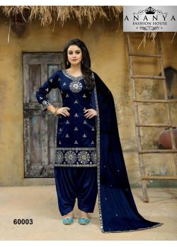 Enigmatic Blue Taffeta Silk Salwar kameez