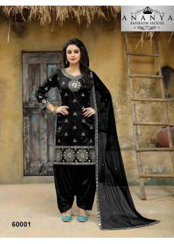 Incredible Black Taffeta Silk Salwar kameez