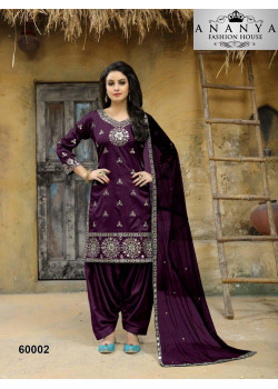 Plushy Purple Taffeta Silk Salwar kameez