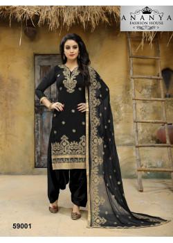 Flamboyant Black Faux Georgette Salwar kameez