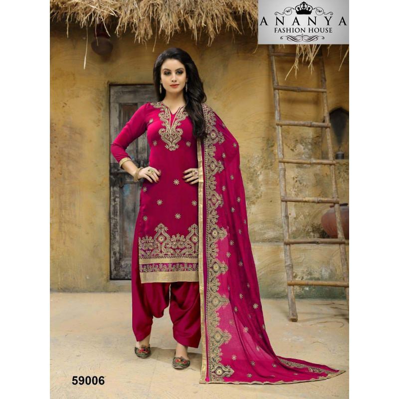 Dazzling Pink Faux Georgette Salwar kameez