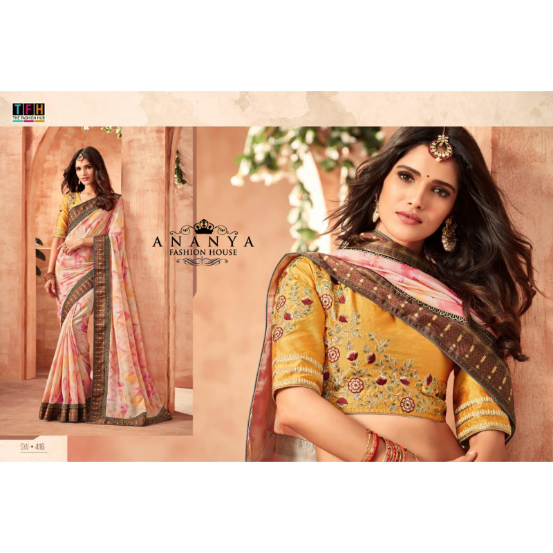 Magnificient White-Pink German Silk Saree with Yellow Blouse