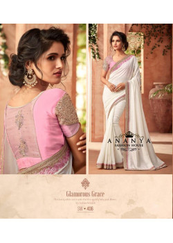 Adorable White Super Silk Saree with Pink Blouse