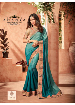 Charming Blue Fusion Silk Saree with Skin Blouse