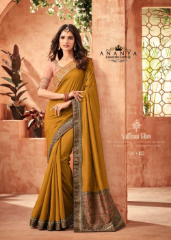 Divine Yellow Nyraa Silk Saree with Pink Blouse