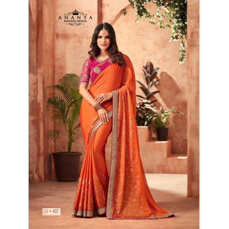 Flamboyant Orange Korian Silk Saree with Pink Blouse