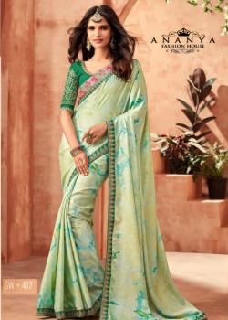 Incredible Green Monarch Silk Saree with Green Blouse