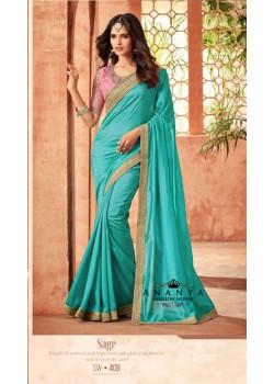 Luscious Blue Nyraa Silk Saree with Pink Blouse