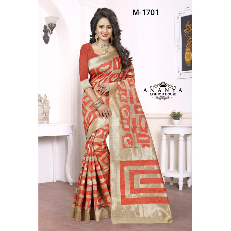 Dazzling Red Kanjivaram Silk Saree with Red Blouse