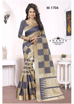 Exotic Blue-Gold Georgette Saree with Blue Blouse