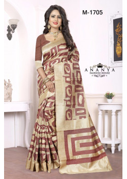 Magnificient Maroon-Gold Georgette Saree with Maroon Blouse