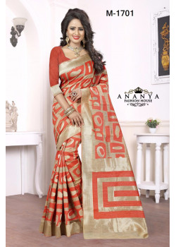 Dazzling Red Kanjivaram Silk Saree with Red Blouse