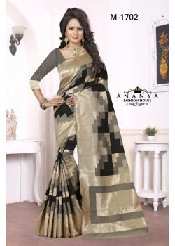 Divine Black-Grey Kanjivaram Silk Saree with Grey Blouse