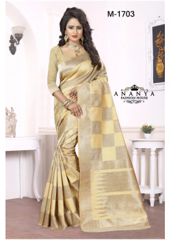 Gorgeous Gold Georgette Saree with Gold Blouse