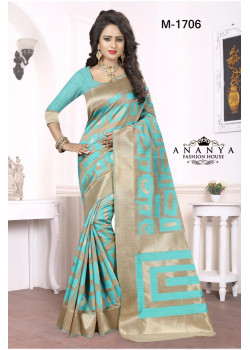 Incredible Blue-Grey Georgette Saree with Blue Blouse