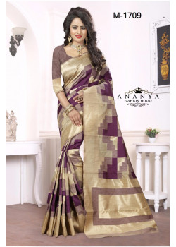 Melodic Purple-Gold Georgette Saree with Purple Blouse