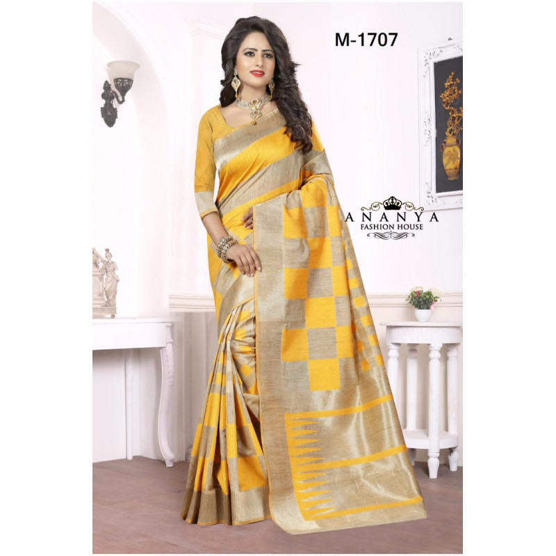 Plushy Yellow-Gold Georgette Saree with Yellow Blouse