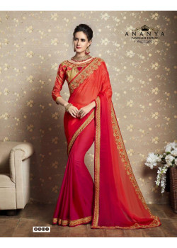 Incredible Red Fancy Georgette Saree with Red Blouse
