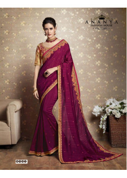 Plushy Purple Vichitra Silk Saree with Yellow Blouse