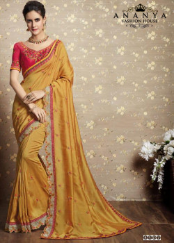 Flamboyant Yellow Vichitra Silk Saree with Pink Blouse