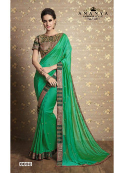 Trendy Green Georgette-Silk Saree with Green Blouse