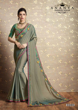 Charming Grey Two Tone Silk Saree with Green Blouse