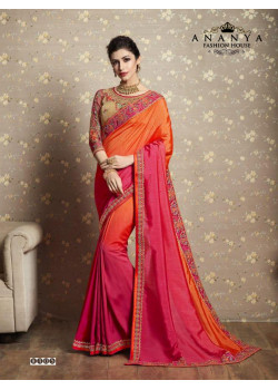 Classic Orange-Pink Fancy Georgette Saree with Green Blouse