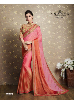 Enigmatic Pink Chiffon-Georgette Saree with Green Blouse