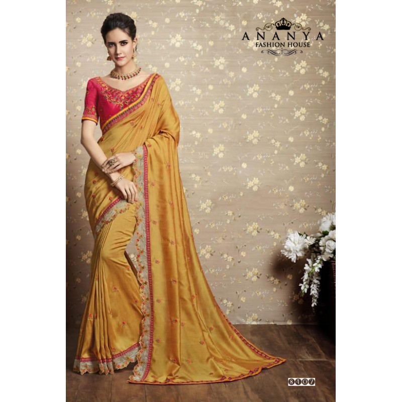 Flamboyant Yellow Vichitra Silk Saree with Pink Blouse