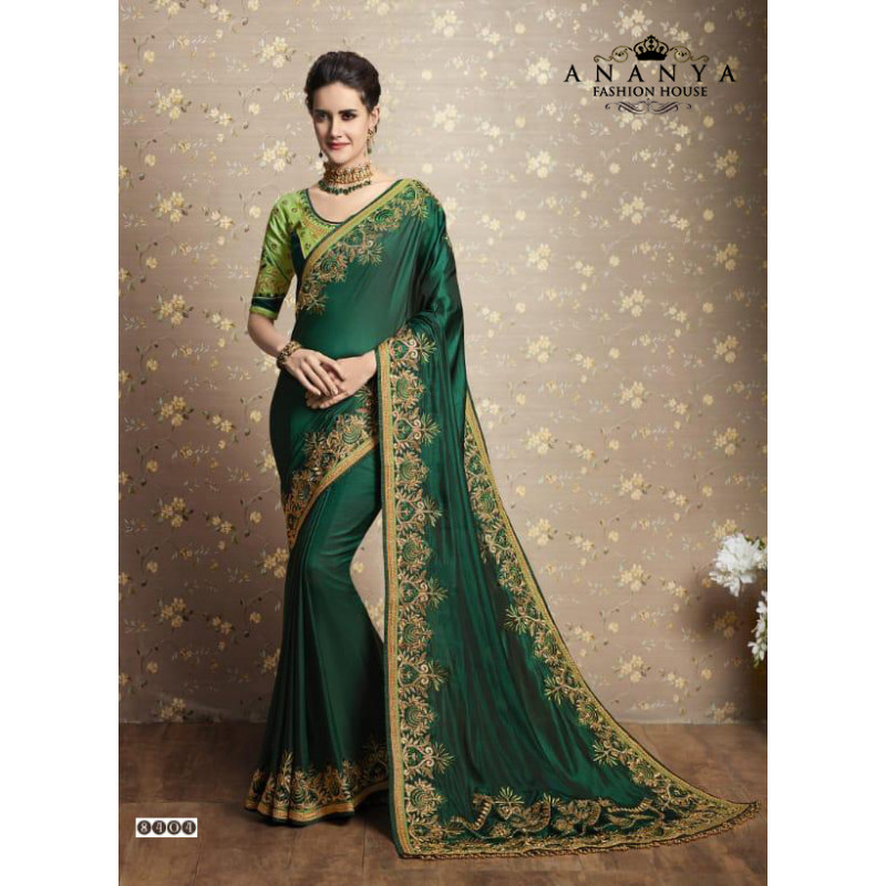 Melodic Dark Green Two tone Silk Saree with Light Green Blouse