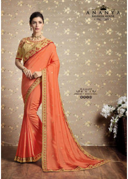 Melodic Orange Vichitra Silk Saree with Yellow Blouse
