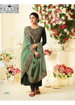 Melodic Brown Maslin Silk-Chinon Silk Salwar kameez