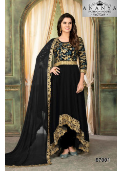 Trendy Black Faux Georgette Salwar kameez