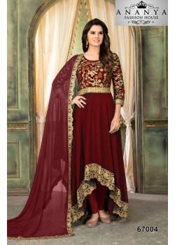 Dazzling Red Faux Georgette Salwar kameez